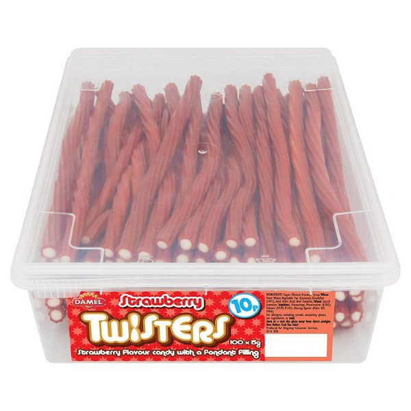 Crazy Candy Factory Strawberry Twisters 10p Tub 100 Pieces